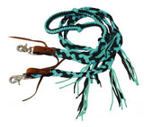 Black Showman ® 8 ft braided nylon reins with tassels