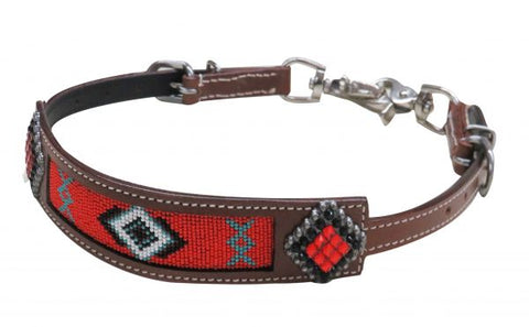 #19282: Showman® Beaded Navajo wither strap with crystal rhinestone conchos