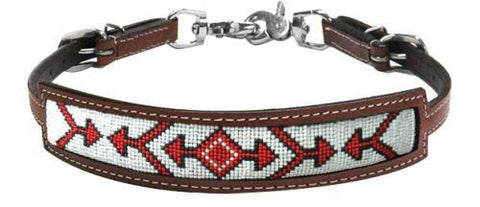 #19316: Showman ® Medium leather wither strap with red beaded arrow design inlay