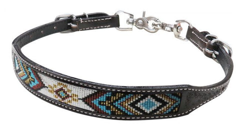 #19319: Showman ® Dark chocolate Argentina cow leather wither strap with beaded inlay