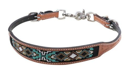 #19320: Showman ® Medium Argentina cow leather wither strap with beaded inlay