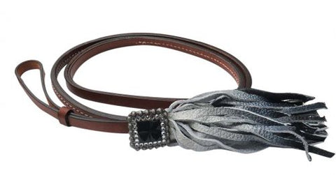 "#19421: Showman® 4ft x 1/2"" Leather over & under whip with black ombre fringe and rhinestone concho"