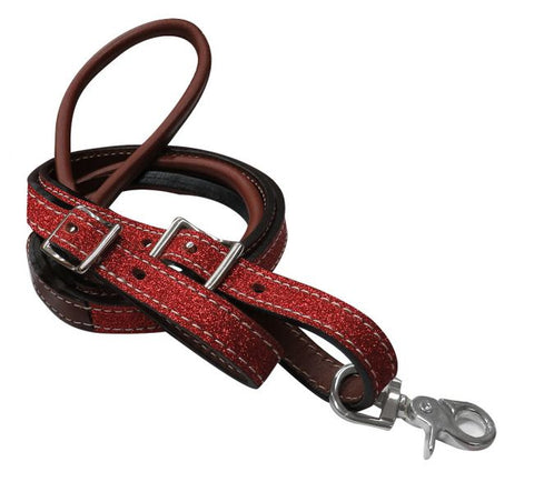 Red Showman ® 8ft Glitter leather contest reins