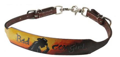 "#19453: Showman ® Hand painted ""Bad Cowgirl"" wither strap"