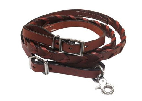 "#19458: Showman ® Pony/Youth 6ft x 3/4"" leather laced contest rein"