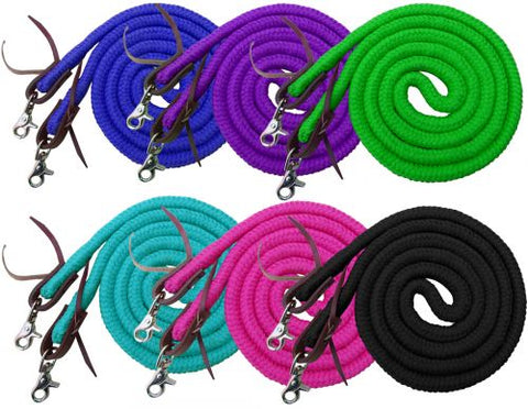 Showman ® 8ft braided soft cotton barrel reins with scissor snap ends