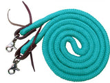 #19504: Showman ® 8ft braided soft cotton barrel reins with scissor snap ends