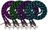 #19554: Showman ® 8ft braided nylon barrel reins with scissor snap ends