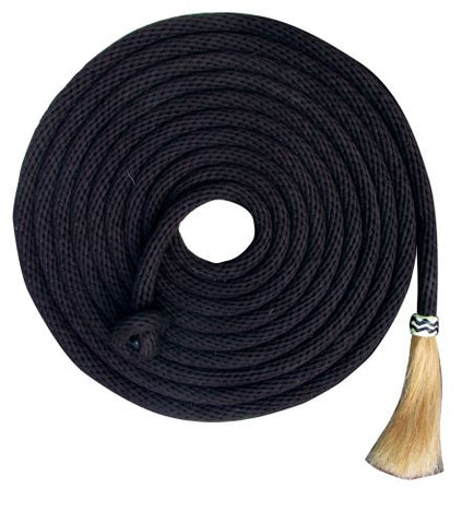 #19564: Showman® 23' Nylon Mecatie Reins with Horse Hair Tassle