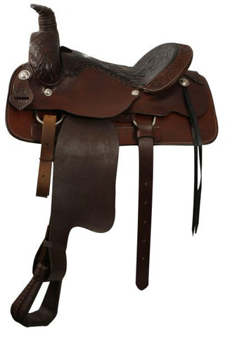 17 / Dark oil Roping Style Saddle Made by Circle S Saddlery