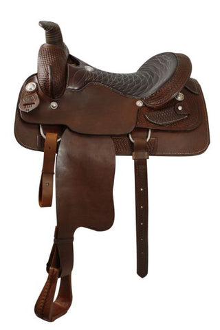 16 / Dark oil Roping Style Saddle with FULL Quarter Horse Bars Made By Circle S Saddlery
