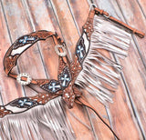 Showman ® Silver hand painted browband headstall and breast collar set