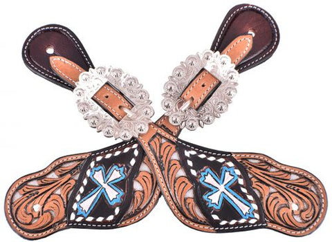 #201901S: Showman ® Silver hand painted cross spur straps