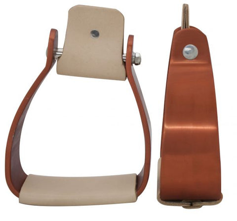 Showman Angled Off Set Copper Colored Aluminum Stirrups