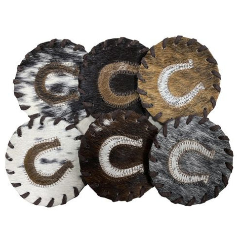 Horseshoe Cowhide Coasters