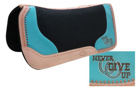 "#22975: Showman ® 32"" x 31"" x 1"" Black felt saddle pad with branded "" Never Give Up"" logo"