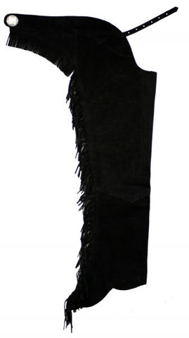 XXL/Black Suede leather chaps with fringe down each leg