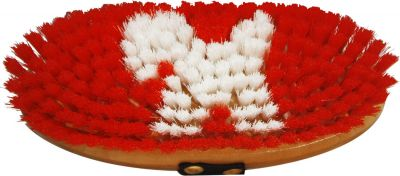 Red Showman junior size body brush with pony logo in bristles
