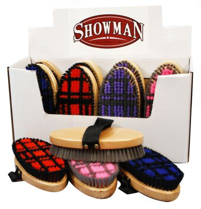 Showman™ medium bristle body brush with checkerboard pattern
