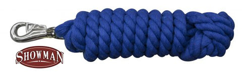 Blue x 10' braided cotton lead with bull snap.