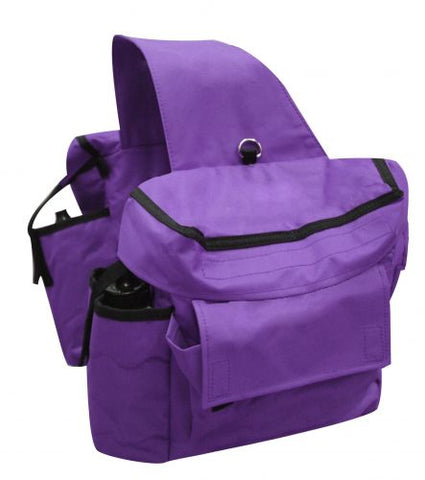 Purple Showman™ Insulated cordura saddle bags with double pockets and water bottles on each side