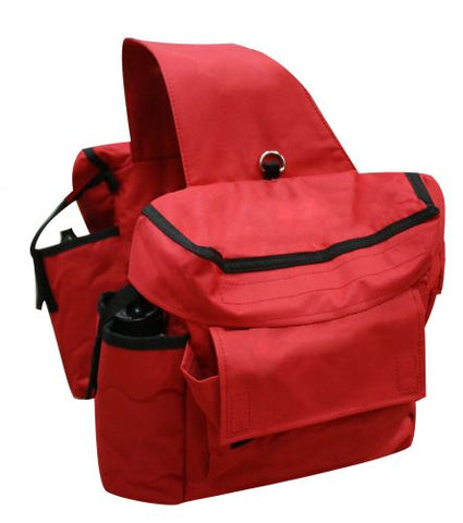 Red Showman™ Insulated cordura saddle bags with double pockets and water bottles on each side