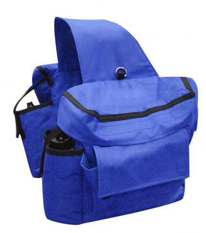 Blue Showman™ Insulated cordura saddle bags with double pockets and water bottles on each side.
