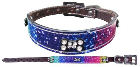 #27452: Showman Couture ™ Genuine leather dog collar with a distressed rainbow print overlay