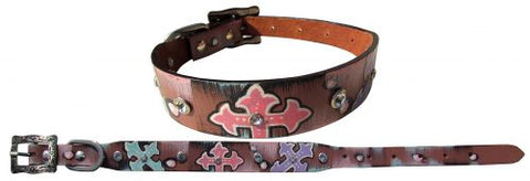 #27475: Showman Couture ™ Genuine leather dog collar with hand painted cross design