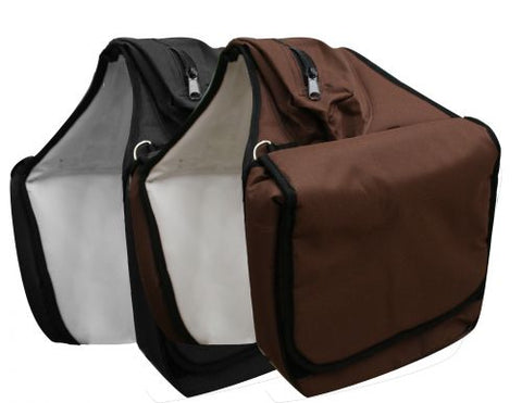 "#296072: saddle bag with zipper cantle bag. This bag features 12"" x 12"" x 3"" insulated pockets"