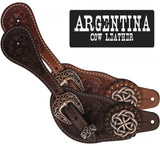 Medium Showman® Ladies Size Argentina Cow Leather Celtic Knot Spur Straps