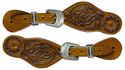 #30700: Showman ® Youth size floral tooled spur straps with crystal rhinestone buckles