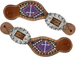 Lime Showman ® Ladies Teal and brown beaded cross spur straps