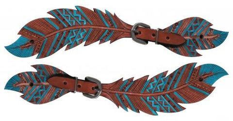 #30809: Showman® Ladies Cut- out teal painted feather spur straps