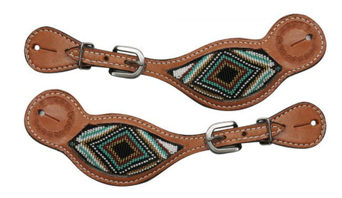 #30838: Showman ® Medium Argentina cow leather spur straps with beaded inlay