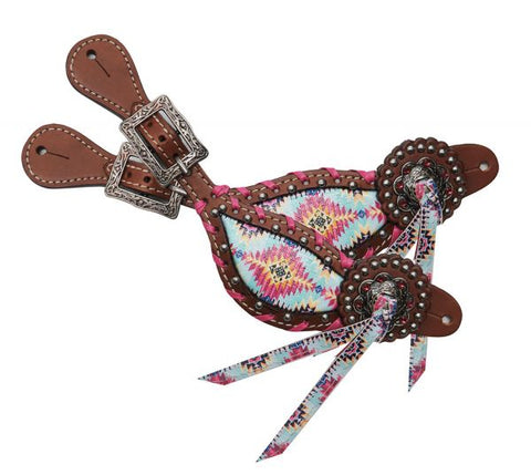#30857: Showman ® Ladies Multi colored Navajo print spur straps