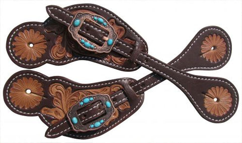 #30881: Showman ® Ladies Tooled leather spur straps with vintage copper conchos