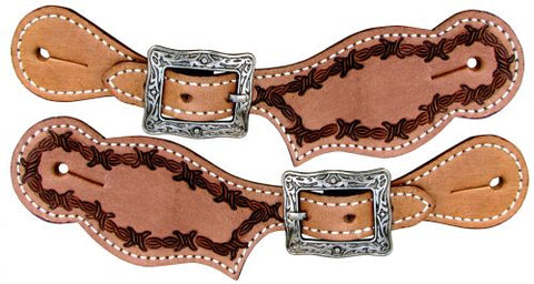 #30908: Showman ® Youth leather spur straps with barwire tooling