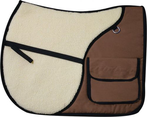 Brown Showman™ English saddle pad with saddle pockets in rear for carrying beverages, food, or accessories