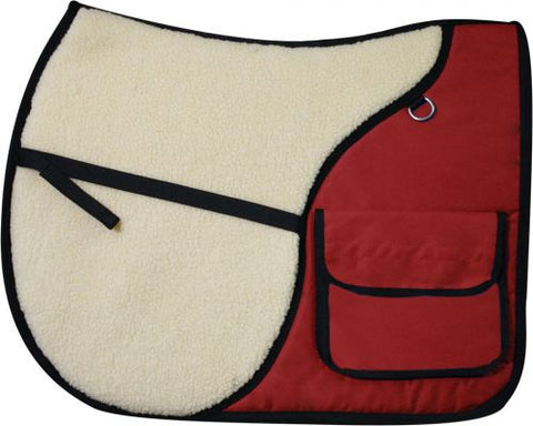 Red Showman™ English saddle pad with saddle pockets in rear for carrying beverages, food, or accessories