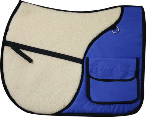 Blue Showman™ English saddle pad with saddle pockets in rear for carrying beverages, food, or accessories