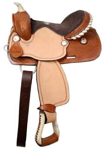 #31312: Double T youth barrel saddle with silver laced rawhide cantle, roughout fenders and jockies