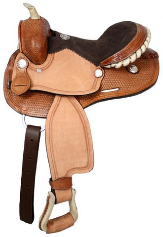 Double T youth barrel saddle with silver laced rawhide cantle, roughout fenders and jockies