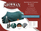 72 / Green with tan binding The 16oz Water Resistant Treated Canvas Showman Blanket