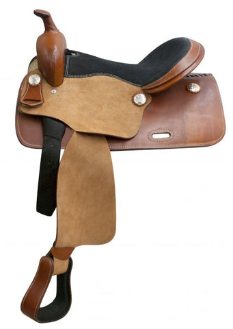 Economy western saddle with rough out fenders and jockeys