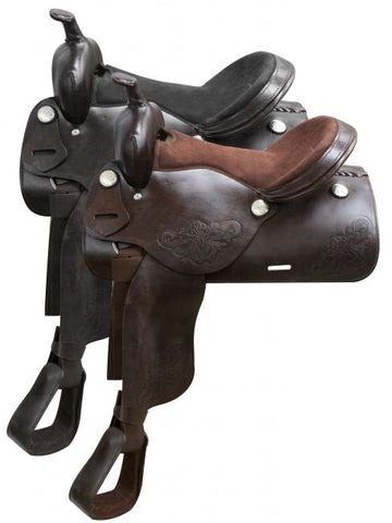 Black Economy western saddle with floral tooling