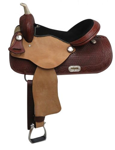 "#3262: 14"", 15"",16"" Economy style western saddle with basket weave tooling"