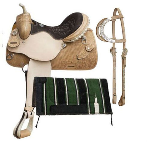"14"" Double T Argentina cow leather barrel style saddle with basket weave tooling and knife pocket"