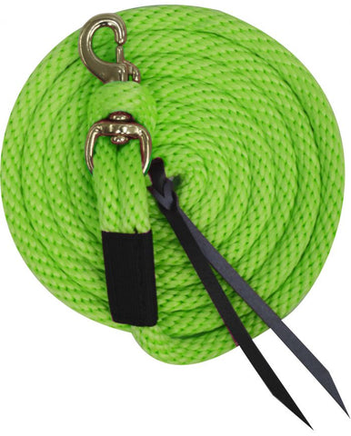 Lime Green x 10' Deluxe poly lead with removable brass snap and leather ends.