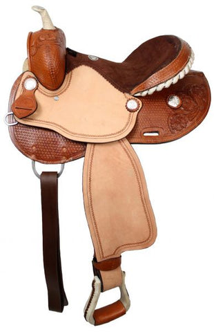 "15"" Double T barrel saddle with silver laced rawhide cantle, roughout fenders and jockies"